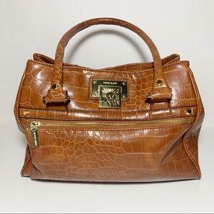 Anne Klein Tan Brown Alligator Shoulder Bag Purse